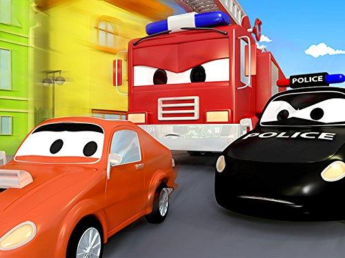 Das Böses Rennauto und Streifenwagen Feuerwehrauto und Polizeiauto