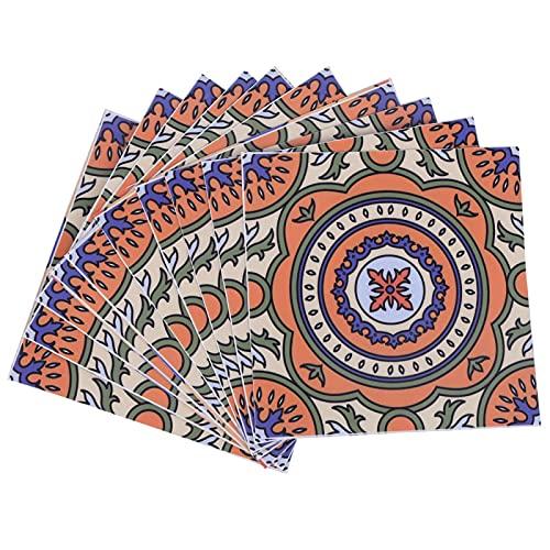 10PcsDecoration 15x15cm Azulejos antideslizantes autoadhesivos para azulejos autoadhesivos para el hogar, la cocina y el baño para Talavera Arte de chimenea marroquí(style 1)