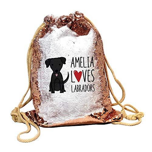 Bantersaurus Love Labrador Pailletten-Beutel mit Kordelzug für Kinder, personalisierbar, Geschenk für Hundeliebhaber, Champagner