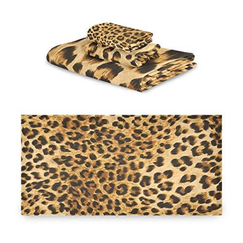 Juego de toallas Rulyy con textura de animal, estampado de leopardo, tres piezas, toalla de baño, de algodón, absorbente, toalla de mano, suave y cuadrada, para cocina, baño al aire libre