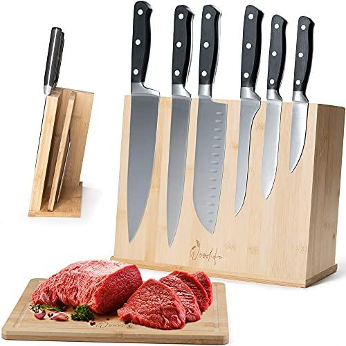 Woodife® Messerblock ohne Messer inkl. Bambus Schneidebrett | stabil & stark | magnetischer Messerhalter für langfristig scharfe Messer, Schere & Wetzstahl