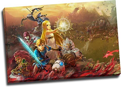 Hyrule Warriors Age of Calamity - Lienzo con marco de madera (91,4 x 61 cm), diseño de leyenda de Zelda Breath of the Wild