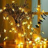[2 Piezas] Guirnalda de Luces, BrizLabs Cadena de Luces Estrellas, 4M 40 LEDs Luces Estrellas de Hadas a Pilas para Navidad Fiestas Bodas Fiestas de San Valentín Jardín Decoración (Blanco Cálido)