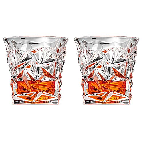 MINGZE Vasos de Whisky Lujoso, 275ML Vaso Whisky Ultra Claridad Vidrio Accesorios...