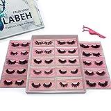 Labeh False Eyelashes 3D Mink Fur Eyelashes Reusable Handmade Natural Lashes Fake Eyelashes Easy to Apply(20 type/package)