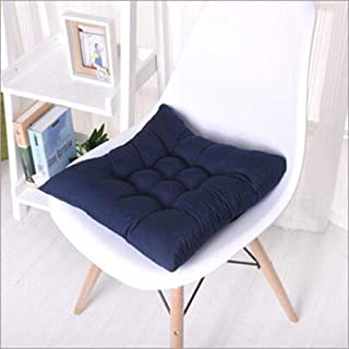 Best YVX Chair Pads Seat Cushions A Set of 4 Winter Thickening Pearl Cotton Office Cushion Navy Blue 45X45Cm for Kitchen Dining Garden Chair Cushion Seat Pads Review