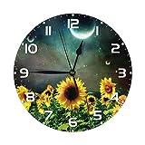 Bonito Reloj de Pared Redondo de Girasol, silencioso, sin tictac, Reloj artístico, decoración del hogar, Alimentado por Pilas para Sala de Estar, Cocina, Dormitorio