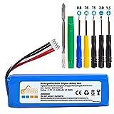 Pickle Power Batería de repuesto para JBL Charge 2 Plus, JBL Charge 2+, JBL Charge 3 (versión 2015), batería recargable para GSP1029102R, 6200 mAh de polímero de litio, con juego de herramientas