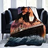 Titanic Blanket Soft Microfiber Flannel Lightweight Air Conditioning Throw Blanket Suitable for Bed Couch Sofa Living Room Gift for Kids/Adults 80'x60' Black