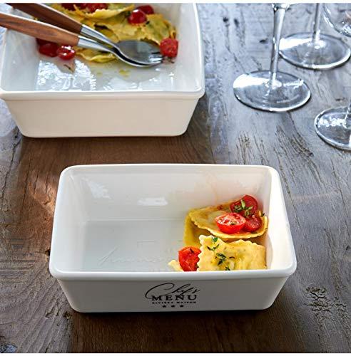 Riviera Maison - Chef's Menu - Auflaufform/Schale - Porzellan - Weiss - S - (BxHxL) 14, 5 x 6 x 19,5cm