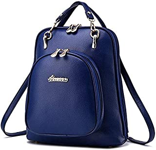 Leather dual purpose shoulder bag korean ladies backpack handbag SJB0807 blue