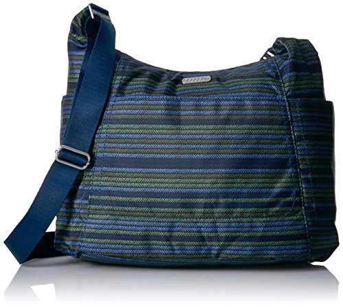 Baggallini Hobo Tote - Lightweight, Water-Resistant Travel Purse With Multiple Pockets and Removable Wristlet, One Size, moss stripe