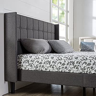 ZINUS Dori Upholstered Platform Bed Frame with Wingback Headboard / Mattress Foundation / Wood Slat Support / No Box… - STRONG GEOMETRY, STRONGER SUPPORT - Made with modern details like a square-stitched headboard with refined wingbacks, but built sturdy with a solid wood and steel frame, this stunning upholstered bed doesn't make you sacrifice great mattress support DURABLY DESIGNED - Interior steel framework and dense foam padding add comfort and longevity; twin size supports a maximum weight capacity of 350 lbs, while all other sizes can support up to 700 lbs NO BOX SPRING NEEDED - Durable wood slats support and extend the life of your latex, memory foam or spring mattress without the need for a box spring; slats are spaced 2.2 - 2.8 inches apart - bedroom-furniture, bedroom, bed-frames - 51aq2JWIGqL. SS400  -