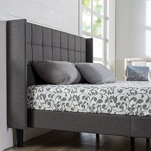 ZINUS Dori Upholstered Platform Bed Frame with Wingback Headboard / Mattress Foundation / Wood Slat Support / No Box Spring Needed / Easy Assembly, Queen