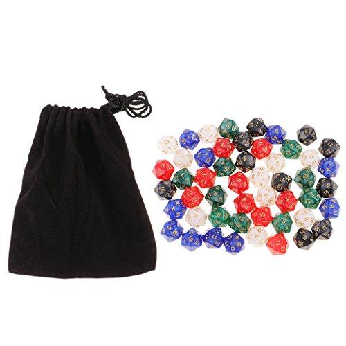 sharprepublic 50 Piezas Polyhedral D8 Dados Cinco Colores con Bolsa para D - D20