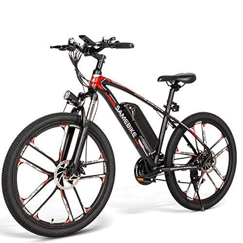 Vélo électrique VTT 26 Pouces, 21 Vitesses Shimano, Double Frein à Disque Mountainbike Suspension Vélo Tout-Terrain Moteur de 350 W avec Batterie au Lithium 48V avec capteur à effet Hall pour Adultes