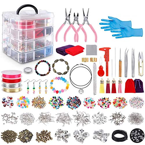 LLYX 2062pcs Jewelry Box Set, DIY Handmade Bead Material, Kit With Jewelry Beads, Jewelry Pliers, Beading Wire For Necklace Bracelet Earrings Making And Repairing, For Girls And Adults