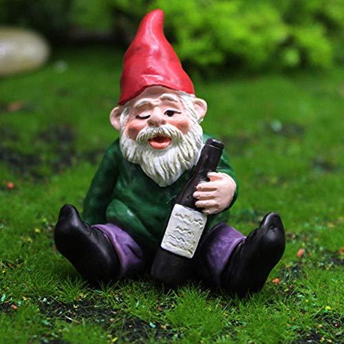 MUGBGGYUE Resin Garden Figurine Long Bearded Tomte Christmas Gnome Elf Drinking Resin Festive Outdoor Decor for Patio Yard Lawn, Garden Ornament Gift