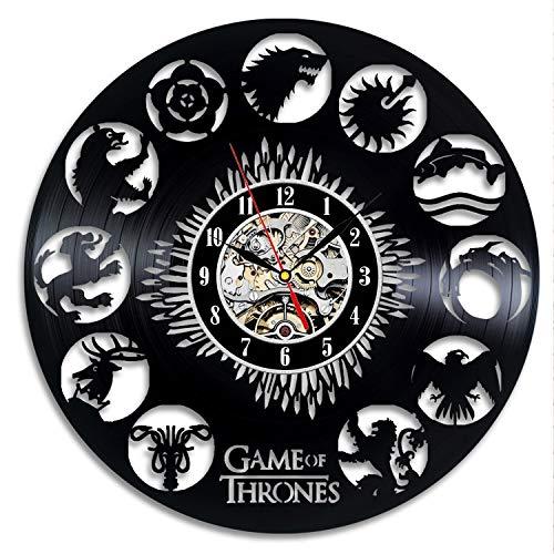 ZhangXF Schallplatten Wanduhr, Game of Thrones Vintage Vinyl Uhr Wand Dekoration Geschenk