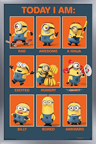 Trends International Illumination Despicable Me - Today I Am - Póster de pared, 56,8 x 86,4 cm, versión enmarcada plateada
