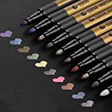 Jhua Paint Marker Pens Acrylic Paint Pens Set 10 Colours Metallic Markers Pen for Rock Painting, DIY Card, Pebble Art