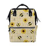 Laptop Backpack Travel College Shoulder Bag School Bag Gifts for Men Women Sunflower and White Flower Seamless Decor