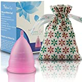 Athena Copa Menstrual – La copa menstrual más recomendada - Incluye una bolsa de regalo - Talla 1, Rosa transparente - ¡Ausencia de pérdidas garantizada!