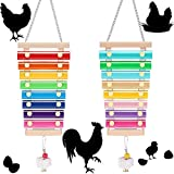 2 Pieces Chicken Toy Wooden Xylophone Toy Hen Musical Toy with 8 Metal Keys and 1 Grinding Stone for Chicken Coop Cages