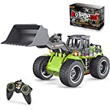 kolegend Remote Control Bulldozer Rc Toy Truck, 1/18 Scale RC Construction Vehicles Metal Front Loader 4WD Truck for Boys Girls Kids with Rechargeable Battery