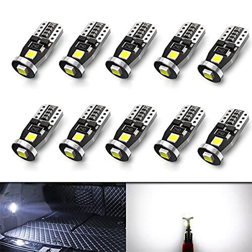 10pcs T10 W5W Bombilla LED Luces interiores Coche 194 501 168 12V 3SMD 3030 Chips 6000K Blanco para luces de la matrícula luces laterales Luz de Marcador de Cortesía de Posición