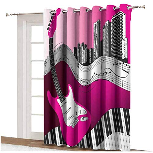 Music Shading Curtains Bass Guitar Keyboard Urban Rock Backdrop Rhythm of City Illustration Grommets Panels Printed Curtains,Single Panel 80x84 inch,for Patio Door Hot Pink Light Grey Black