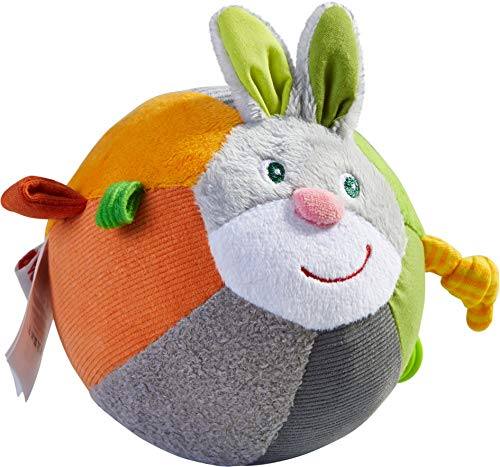 HABA Easter Bunny Ball with Crinkle Ears, Textured Fabric and Rattling Effects