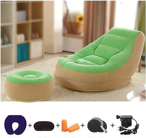 Portable Canapé Gonflable Chaise Vert Air Sofa Gonflable pour Le Bureau à Domicile