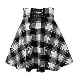 Damofy Falda a Cuadros de Cintura Alta para Mujer, Falda gótica Plisada Acampanada Corta, Minifalda Skater, Vestido Punk con tutú