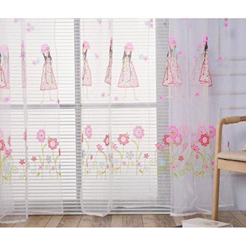Vovotrade® Animé de Mode Mignon Fille Imprimé Frais Rideaux de Fenêtre Solid Color Window Treatment Panels Door Drape Petite Fille Décoration Chambre (Rose)