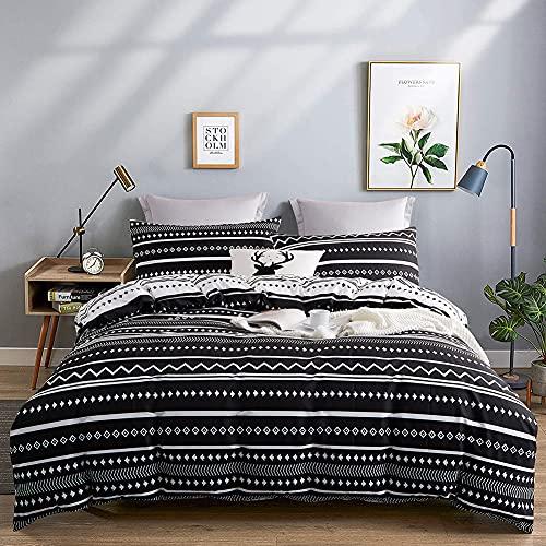 Michorinee - Juego de ropa de cama (140 x 200 cm, microfibra, diseño de rayas, reversible, 140 x...