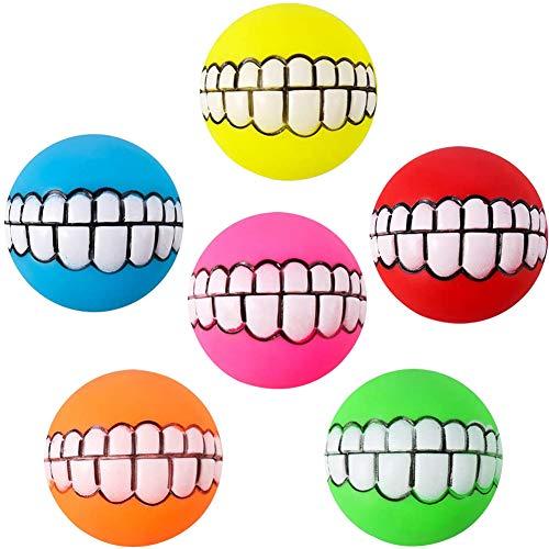 FANDE Lustiger Hundeball, 6 PCS Hund Quietschende Spielzeug Quietschende Kauspielzeug Hundeball mit Zahnpflege Latex Weiche Hundespielzeug Gummi