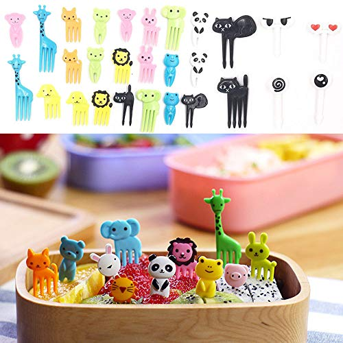 Ywoow 36Pcs Lovely Animal Food Fruit Forks Decor Animal Mini Cartoon Toothpick Lunch