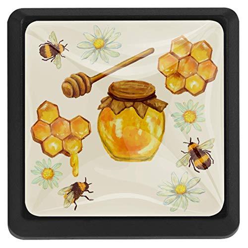 [4 unidades] pomos de armario de cocina sólidos cuadrados para cajón, tiradores de cajón y tarro de miel con nido de abeja