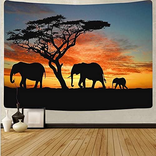 Sombra de animal tapiz psicodélico Mandala tapiz atardecer paisaje Yoga Toalla de playa Hippie tapiz de tela de fondo A6 180x230cm