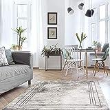 MyShop24h Alfombra para salón, color gris, 80-150 cm, cenefa jaspeada, aspecto de hormigón, suave pelo plano, certificado Oeko Tex 100, apto para alérgicos estándar