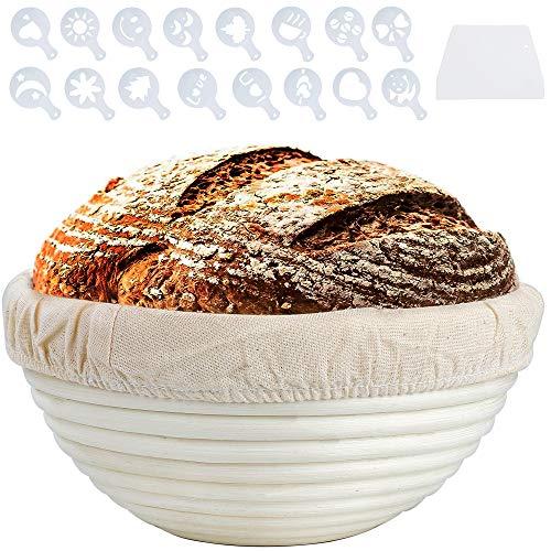 MaoXinTek Rund Proofing Baskets, Handgemachte Gärkörbchen Natürlichem Peddigrohr mit Cloth Liner Teigschaber 16 Dekor-Schablonen für Artisan Home Bakers (ø 20cm)