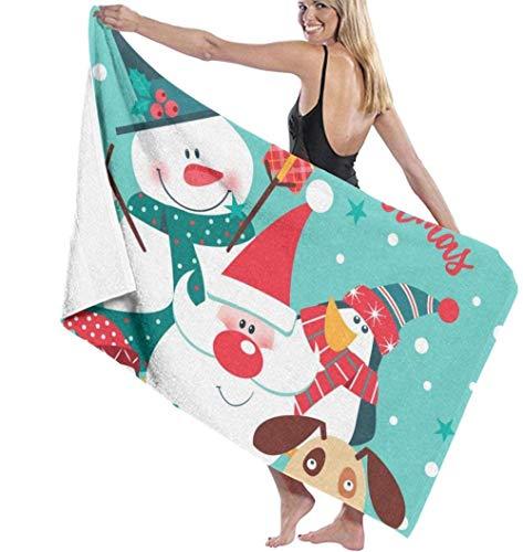 Toalla De Baño Ligera Súper Absorbente Suave Feliz Navidad con Papá Noel Muñeco De Nieve Pingüino Y Perro Microfibra De Secado Rápido Toallas De Gimnasio para Piscina Adecuado para Niños Y Adultos
