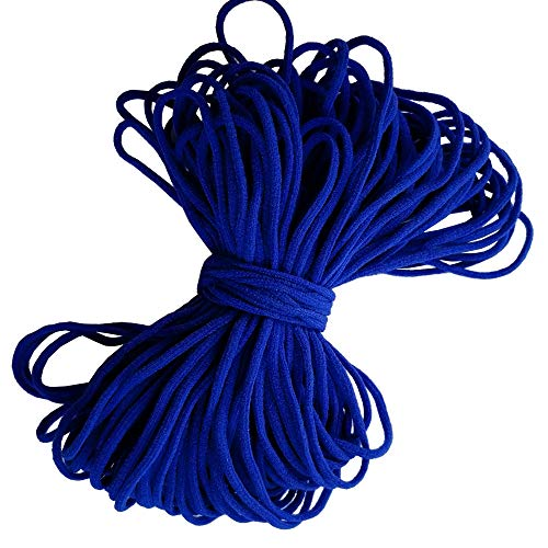 Navy Blue Round Elastic String Cord Earloop Bands for Face Masks Making Supplies Sewing Craft Project Bracelet String Trim for Crafting Thin Soft & Stretchy 20YARD