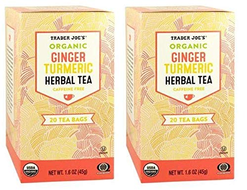 Trader Joes Organic Ginger Turmeric Herbal Tea 20 envelopes each - PACK OF 6