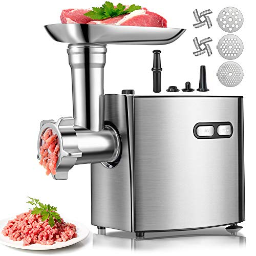 Meat Grinder for Home Use, cheffano ALTRA Stainless Steel Electric Meat Grinder, Sausage Maker, 2000W Max,with 3 Size Grinding Plates, Sausage & Kubbe Kit Meat Grinders Electric for Kitchen