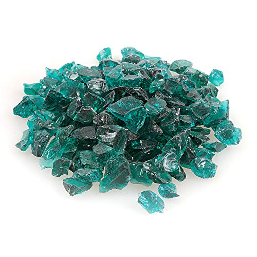 High Luster Reflective Fire Glass Gravel,Fire Gems,Fire Drops,Fire Glass Pebbles Stones Beads Chips for Fire Pit Fish Tank Aquarium Garden,1-2cm,540g/1.19lb (Turquoise)
