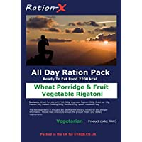 Ration-X All Day Ration Pack 2100 kcal Ready to Eat Wet Meals Plus Snacks Menu 3 Vegetarian