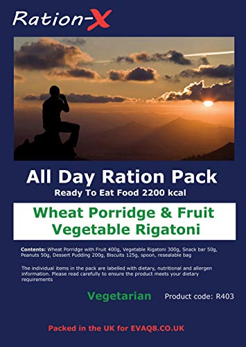 Ration-X All Day Ration Pack 2100 kcal Ready to Eat Wet Meals Plus Snacks Menu 3 Vegetarian 1