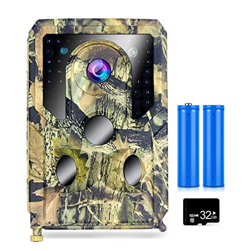 skrskr 12MP 1080P Trail and Game Camera Cámara de Caza activada por Movimiento Cámara de exploración de visión Nocturna infrarroja de Vida Silvestre al Aire Libre